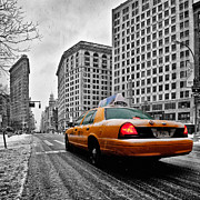 Manhattan Photo Framed Prints - Colour Popped NYC Cab in front of the Flat Iron Building  Framed Print by John Farnan