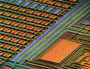 Integrated Framed Prints - Coloured Sem Of Surface Of An Eprom Silicon Chip Framed Print by Dr Jeremy Burgess