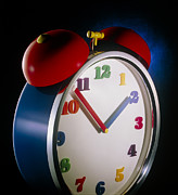Alarm Clock Posters - Colourful Alarm Clock Poster by Phil Jude