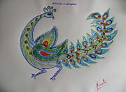 Peacock Drawings Metal Prints - Colourful Bird Metal Print by Sonali Gangane
