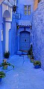 Morocco Metal Prints - Colourful Blue Side Alley with Hotel Entry Door Chefchaouen Morocco Metal Print by Ralph Ledergerber