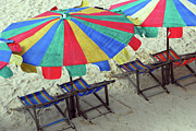 Beach Umbrella Prints - Colourful Deck Chairs And Umbrellas In Thailand Print by Thepurpledoor