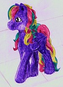My Little Pony Drawings - Colourful Horse by April McCallum
