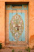 Moroccan Photos - Colourful Moroccan Entrance Door Sale Rabat Morocco by Ralph Ledergerber