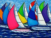 Sailboats Paintings - Colourful Regatta by Lisa  Lorenz