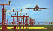737 Framed Prints - Colourful Take-Off Framed Print by Patrick English