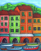 Portofino Italy Painting Posters - Colours of Liguria Poster by Lisa  Lorenz
