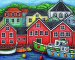 Harbour Painting Framed Prints - Colours of Lunenburg Framed Print by Lisa  Lorenz