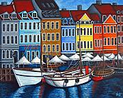 Harbor Painting Framed Prints - Colours of Nyhavn Framed Print by Lisa  Lorenz