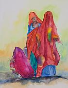 Indian Women Framed Prints - Colours of Rajasthan Framed Print by Kate Bedell
