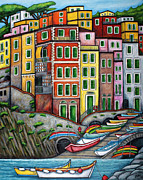 Cinque Terre Paintings - Colours of Riomaggiore Cinque Terre by Lisa  Lorenz