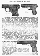 Fire Arms Prints - Colt Automatic Pistols Print by Granger