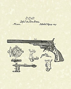 Fire Arms Prints - Colt Firearms 1839 Patent Art Print by Prior Art Design