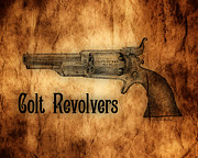 Bullets Framed Prints - Colt Revolvers Framed Print by Cheryl Young