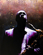 Spray Paint Art Paintings - Coltrane II - Coltrane Harder by Bobby Zeik