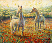 Horses Prints - Colts in poppies Print by Gill Bustamante 