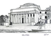 University Buildings Drawings Prints - Columbia Print by Frederic Kohli