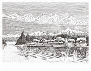 Yachts Drawings Prints - Columbia River Raft Up Print by Jack Pumphrey