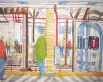 Universities Painting Originals - Columbia University Subway Station by Enrico Miguel Thomas