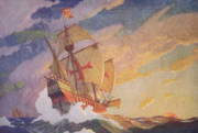 Sailing Metal Prints - Columbus Crossing the Atlantic Metal Print by Newell Convers Wyeth