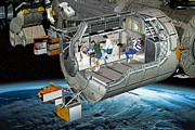 Astronauts Photos - Columbus Module Of The Iss, Artwork by David Ducros