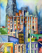 Green Painting Originals - Columbus Ohio City Lights by Mindy Newman