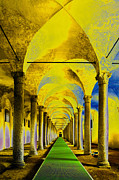 Green Color Digital Art - Columns by Adriano Pecchio