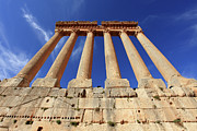 Baal Framed Prints - Columns And Capitals Of Roman Temple Of Jupiter Ruins Dating To Around 60 Ad, Baalbek, Lebanon Framed Print by David Forman