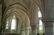 Vaults Prints - Columns and rib vaulting inside La Chapelle Church Print by Sami Sarkis
