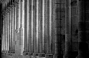 Architectural Feature Photos - Columns at Mont Saint-Michel by Sami Sarkis