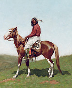 Male Horse Paintings - Comanche Brave by Frederic Remington