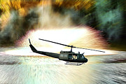 Explosions Posters - Combat Helicopter Poster by Olivier Le Queinec