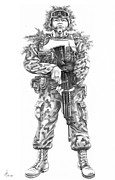 Troops Drawings Prints - Combat Soldier Print by Murphy Elliott