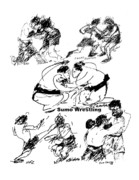 Fighters Drawings Prints - Combat Sports Print by Sam Chinkes