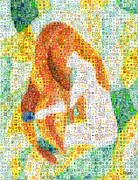 Little Girls Mixed Media Posters - Combing the Waves Mosaic Poster by Paula Ayers