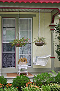 Hanging Baskets Prints - Come and sit awhile Print by Kelley Nelson