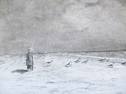 Seagull Drawings Originals - Come Back by Jeff Geen