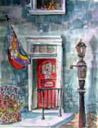 Lamp Post Mixed Media Prints - Come In Print by Mindy Newman