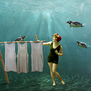 Underwater Digital Art - Come on darlings its almost dry by Martine Roch