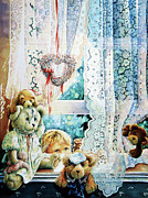 Nursery Room Art Prints Paintings - Come Out And Play Teddy by Hanne Lore Koehler