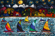 Sailboats Drawings - Come Sail Away Tonight by Monica Engeler