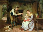 Caring Mother Paintings - Come to Daddy by William Henry Midwood