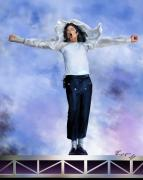 Michael Jackson On Stage Singing Prints - Come Together Over Me - MJ Print by Reggie Duffie