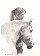 Pony Drawings Framed Prints - Come with me Framed Print by Satu Manninen