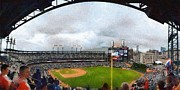 Baseball Field Digital Art Posters - Comerica Park Home of the Detroit Tigers Poster by Michelle Calkins