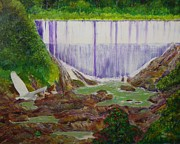 Puerto Rico Painting Originals - Comerio Dam by Tony Rodriguez