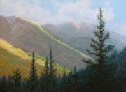 Aspen Trees Pastels Prints - Comes the Dawn Print by Debra Mickelson