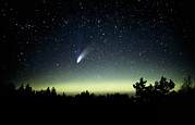 Hale-bopp Prints - Comet Hale-bopp And Aurora Borealis, 30 March 1997 Print by Pekka Parviainen