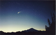 Hale-bopp Comet Framed Prints - Comet Hale-Bopp Over Mt. Baker Framed Print by Michael Williams