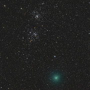 Comets Posters - Comet Hartley 2 And The Double Cluster Poster by Rolf Geissinger
